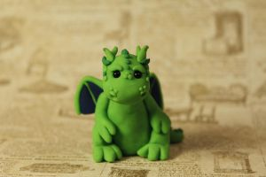 Miniature Green Clay Dragon Sculpture by lizayle
