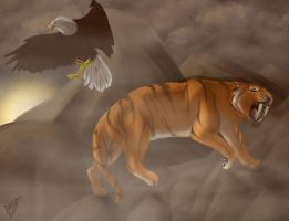 Commission: Smilodon and Eagle by SeverusTsume