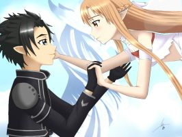 Kirito and Asuna fan art by kshaGL