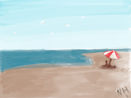 On the Beach by AnimatorRawGreen