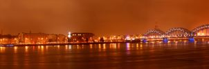 Riga panorama after fireworks. by theartofmike