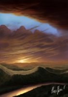 Hillscape at Sunset by LordDoomhammer