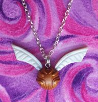 Snitch Necklace Closeup by CraftMagic