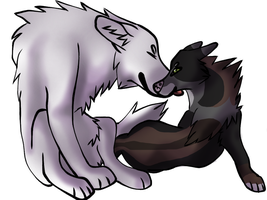 Fox and wolf Love by NickieDemon