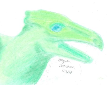 Green dragon in pastel by Dragoness-of-Night