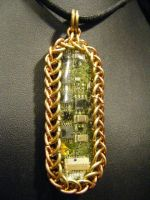 brass and copper chainmail circuit pendant by BacktoEarthCreations