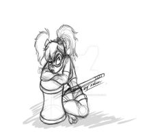 Harley Quinn in the dumps (sketch) by Mad--Munchkin
