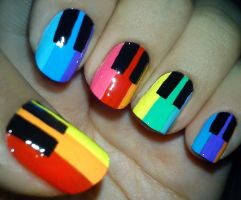Rainbow Piano Nails by fractionVerse