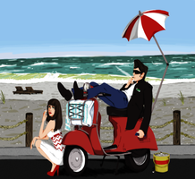 A Vespa Beach Day by Space-Drive-Overdose