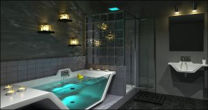 Contemporary Bathroom Caustics by DavidHier