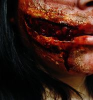 Bloody Mouth Slit Closeup. by BabsxStock