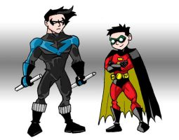 Nightwing and Robin by memorypalace