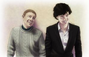 Sherlock and John laughing (color) by AzurLazuly
