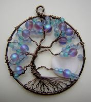 Twisted Blue and Purple Tree of Life *SOLD* by RachaelsWireGarden