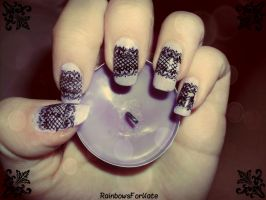 Black Lace Nails by RainbowsForKate