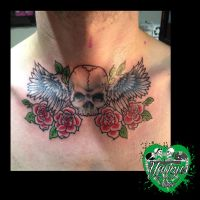 Skull, rose and wings tattoo by yayzus