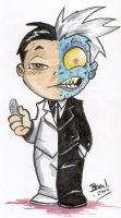 Chibi-Two-Face. by hedbonstudios
