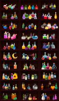 Potions in different graphic styles 2 by EternalAnomaly