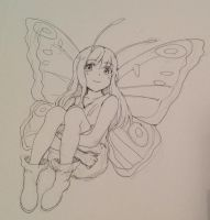 butterfly girl doodle by PastelCake