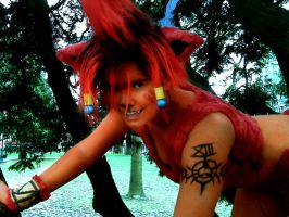 Red xIII Up in a Tree by MommaSammu