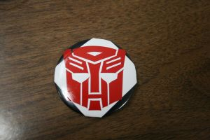 autobot sticker on a button by MormonFury