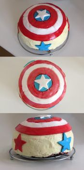 Captain America Shield Cake by NemoNemini