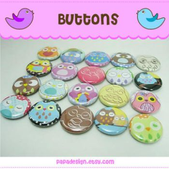 Buttons - Owls by Papacan