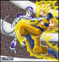 -DBM- Freeza VS Son Goku by DBZwarrior