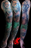Haunted house sleeve tattoo by Jackie Rabbit by jackierabbit12