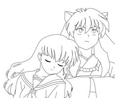 Inuyasha and Kagome Lineart by Bodici22