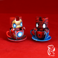 Spiderman and Iron Man Cup of Teas by FullerDesigns