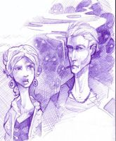 Spike and Buffy -pen drawing by zirofax