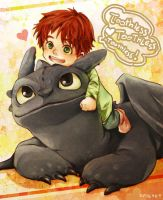 Toothless and Hiccup's son by Kadeart0