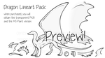 .: Dragon Lineart Pack - P2U by omenaapple