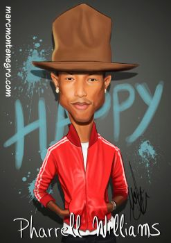 Pharrell Williams Singer Caricature by MMCilustration