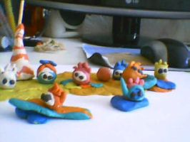 Puffle Beach from plasticine by LadyOrca
