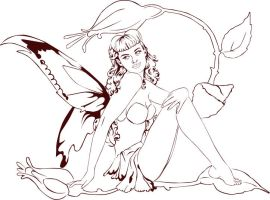 Pinup Fairy Lineart by raynaliz