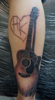 a guitar tattoo IN PROGRESS by graynd