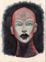 Asajj Ventress WaterColor by MikeMarsArt