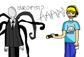 Slenderman and PewDiePie by bloodplusrocks