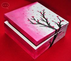 cherry blossoms wooden box by cihutka123