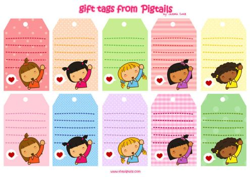 Pigtails Gift Tags by jazgirl