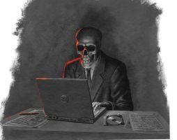 Skeleton at laptop by Acrylicdreams