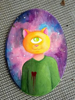Cat Cyclops Paintng finished by skygrl98