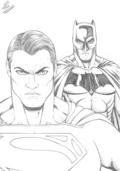 SUPERMAN and BATMAN by TIAGO-FERNANDES