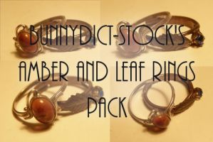 Amber and leaf rings pack by Bunnydict-stock