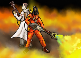 Pyro and Medic by Ninefacedman