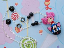 Sailor Moon handmade necklace with clay Chibiusa by SimonaZ