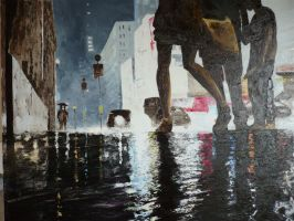 Rain in Times Square by Gregnix