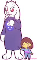 Frisk And Toriel by pupom
